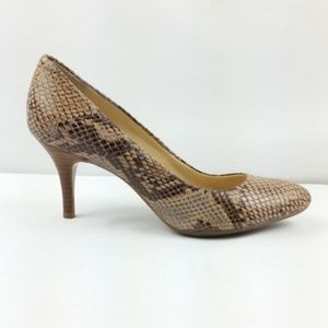 Calvin Klein Heels Size 7 Brown Snake Print S9-6